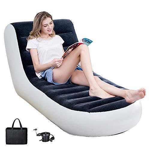 HAOWEN Aufblasbarer Stuhl Sofa Blow Up Sitz Gaming Lounger Indoor Outdoor Camping Garten Stilvolles Design Weiches Plüschgewebe Einzelne Aufblasbare Deluxe-Liege,Electricpump-Flocking