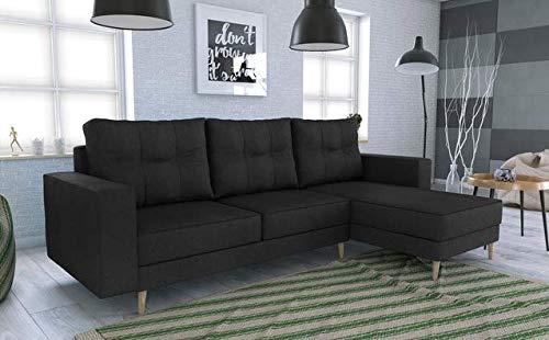 Canapé d'angle 2 places Noir Scandinave