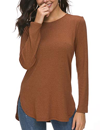 Herou Fall Long Sleeve Plus Pullover Side Split Loose Casual Tunic Tops Caramel Large