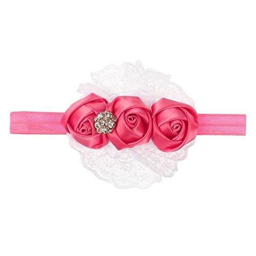 Accessoire Cheveux Ruban Bébé Rose Dentelle Fleur Bandeaux Fille Enfants Watermelon Red