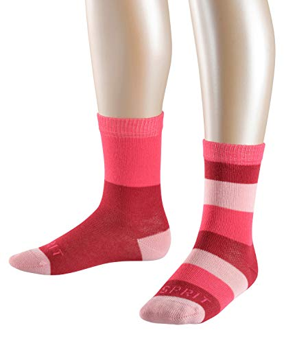ESPRIT Kinder Socken Block Stripe 2er Pack - 80% Baumwolle, 2 Paar, Rot (Cherry Red 8518), Größe: 35-38