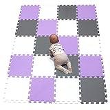 YIMINYUER Alfombra de protección de Suelo Puzzle/Alfombra de Actividades para bebé y niño, Goma EVA, Blanco Púrpura Gris R01R11R12G301020