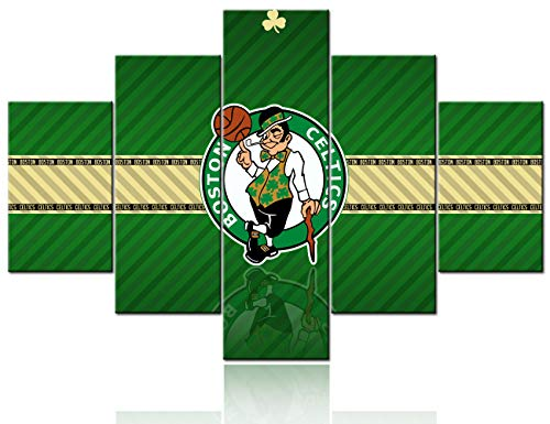 Basketball Wall Art for Living Room Native American Decor Logo of The Boston Celtics Paintings NBA Sports Pictures 5 Panel Canvas Home Decor,Modern Artwork Framed Stretched Ready to Hang - 60''Wx40''H