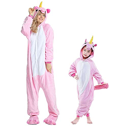 Regenboghorn Einhorn Kostüm Pyjama Pegasus Onesie Overall für Männer, Frauen, Kinder Halloween Party Onsie Overall Nachthemd Nachtwäsche Pink Pegasus XL