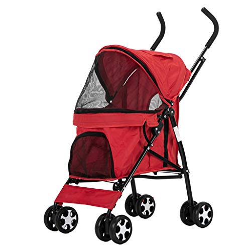 YZONG 4 Wheel Dog Cat Pet Stroller,Reversible Handle Bar,Collapsible,Zipper Entry,360º Rotating Front Wheel,Stable Small,Medium,Large Dogs Cart,Red