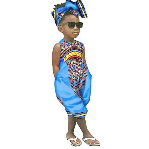 WOCACHI Toddler Kid Baby Girls African Boho Sleeveless Romper Hair Band Bodysuit Jumpsuit Clothes 2020 Summer Under 5 Dollars Deals Blue