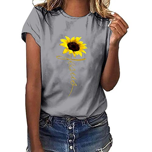 Best Deals! Lovor Womens Plus Size Sunflower Gesture Print Short Sleeve T-Shirt Tops Pullover Tees C...