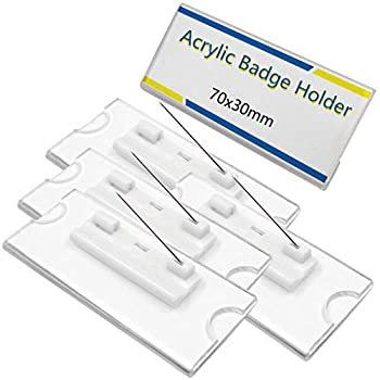 IronBuddy Badge Card Holder Blank Clear Acrylic Name Tags Holders with Pin 2.8x1.2 Inch Pack of 10