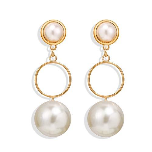 HLWJ Pendientes redondos de perlas para mujer (color: oro).