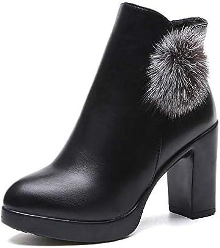 IWxez Bottes Mode pour Femmes Bottes d'hiver en PU (polyuréthane) Talon Chunky Bottes à Bouts Ronds Bottines Noir Rouge