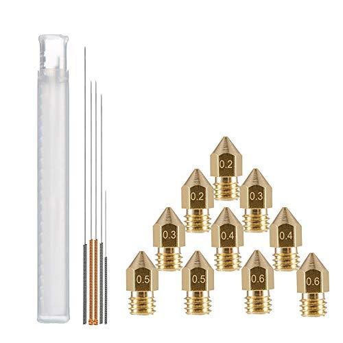 YOTINO 10 piezas MK8 Boquilla Extrusora + 5 piezas Boquilla Kit de limpieza Taladro para 1.75mm Duplicador, MakerBot, RepRap, etc. Impresora 3D MK8 Boquilla extrusora