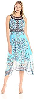 Sandra Darren Women's Sleeveless Printed Midi Chiffon Necklace Dress