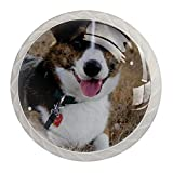 Corgi Perillas de gabinete con diseño de perro, asas de armario de cocina, perillas de cristal para aparadores, armarios, mesita de noche, estantería,