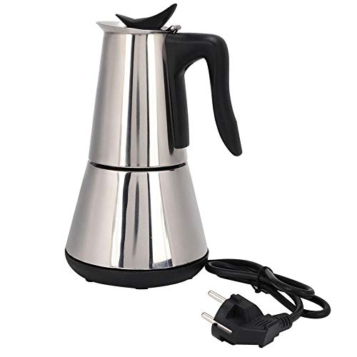 Cafetera eléctrica, Cafetera de acero inoxidable para preparar té 300ML (4 tazas), Máquina de espresso portátil reutilizable con base extraíble (Negro)
