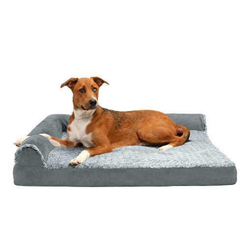 Furhaven Pet Dog Bed – Deluxe Cooling Gel Memory Foam Two-Tone Plush and Suede L Shaped Chaise Lounge Living Room Corner Couch Pet Bed with Removable Cover for Dogs and Cats, Stone Gray, Jumbo