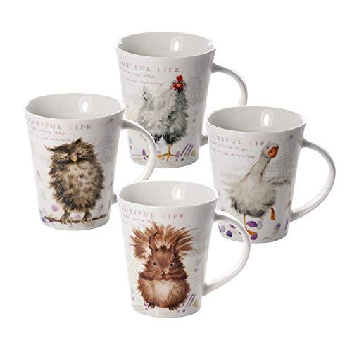 Lot de 4 Tasses à Café en Porcelaine 370 ml avec Animaux Hibou Écureuil Poule et Canard