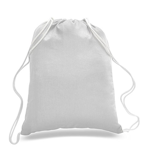 (6 Pack) Set of 6 Durable Cotton Drawstring Tote Bags