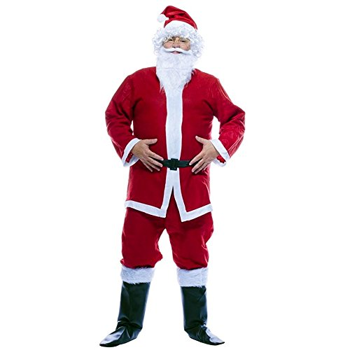 Zeus Party Costume da Babbo Natale per Adulti Vestito Completo di Giacca, Pantaloni, Cintura, Barba e Baffi e Cappello