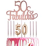 Rose Gold Glittery 50 Fabulous Cake Topper with Number 50 Candles and 6 Count Candles for 50th Birthday Party Decorations, Birthday Cake Topper Decor