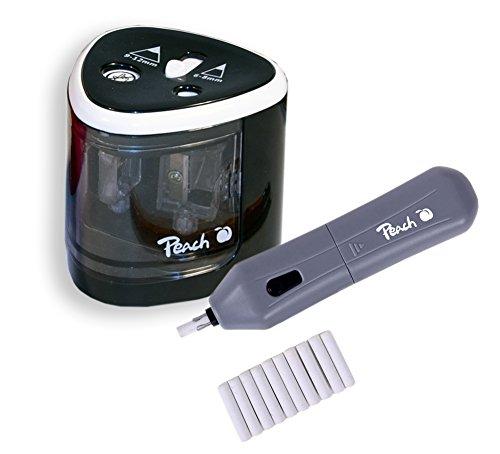Peach 511013 Vorteils-Set Po102 Elektrischer Universal Anspitzer | Po104 Elektrischer Radierer