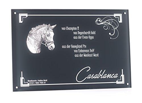 CHRISCK design Boxenschild Stallschild Pferdeschild mit Gravur Brandzeichen von Ihrem Pferd