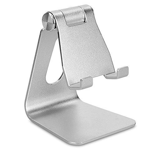 kwmobile supporto universale per smartphone e tablet - stand da tavolo pieghevole e regolabile - sostegno in alluminio dock per iPhone iPad - argento