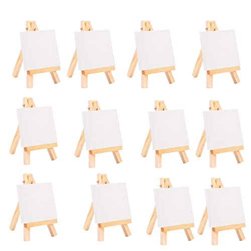 Gaoominy 24 Conjunto de Artistas Caballete de 5 Pulgadas + 3 Pulgadas X3 Pulgadas Juego de Lienzos Pintura Craft DIY Dibujo Peque?O Regalo de Caballete de Mesa