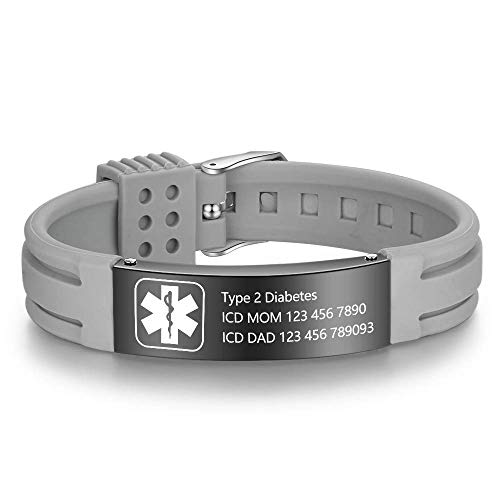 Freie Gravur Männer Edelstahl Medical Alert Armband SOS Ice Personalisierte maßgeschneiderte Medizinische ID Awareness Emergency für Ehemann Sohn Freund Opa Vati (G-B)