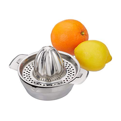 Relaxdays Zitronenpresse Edelstahl, 2-teilige Citruspresse mit Auffangbehälter, manuelles Entsaften, hochwertig, silber