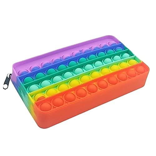 Estuche para lápices – Juguete de burbujas de silicona sensorial simple, bolsa de almacenamiento de papelería, juguete de descompresión para niños, organizador de papelería de oficina – colorido