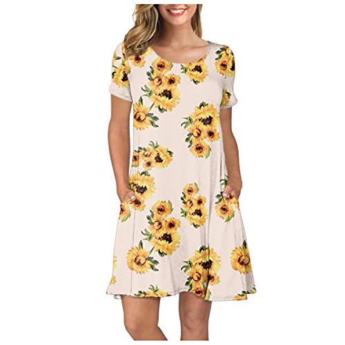 Mily Vestido estampado de girasol para mujer, verano, manga corta, bolsillos, vestido de columpio, vestido de verano para mujer