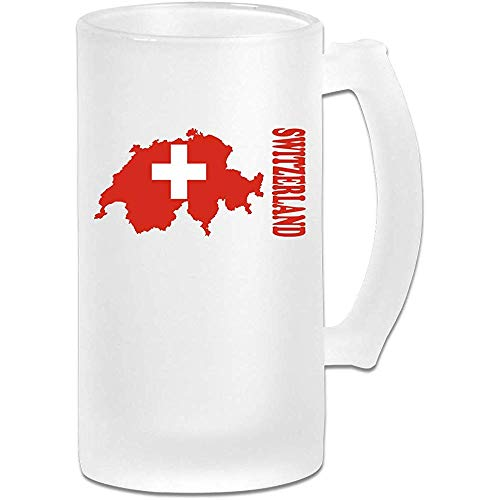 Mapa de la bandera de Suiza DIY Imprimir Vidrio Cerveza Taza de agua Taza térmica Tazas de té para viajes Regalo de fiesta de cumpleaños (vidrio esmerilado)