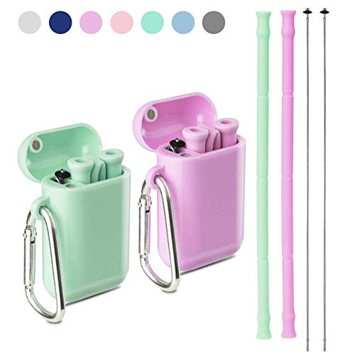 Yoocaa Reusable Silicone Collapsible Straws - 2 Pack Portable Drinking Straw with Colorful Carrying Case and Cleaning Brush, BPA Free - Green Purple