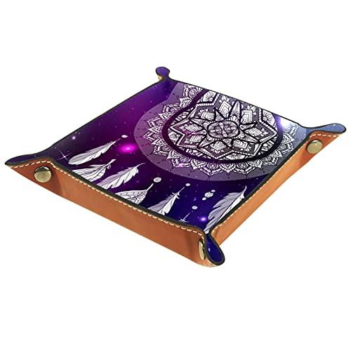 CAITIAN Bandeja plegable de cuero de la PU para el almacenamiento de la joyería del reloj sostenedor del sostenedor del atrapasueños Boho 16x16cm