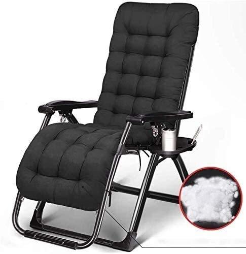 DAGCOT Zero Gravity ligstoel Chair Opvouwbare Lounge Chair Buiten ligstoelen Balkon met bekerhouder en verwijderbaar kussen Garden Pool Beach (Color : Black)