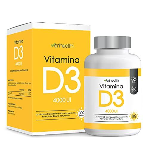 Verihealth - Vitamina D3 4000 UI 100 µg con Aceite de Oliva para Optima Absorción | Complemento Alimenticio a base de colecalciferol - 300 perlas, 10 meses de suministro