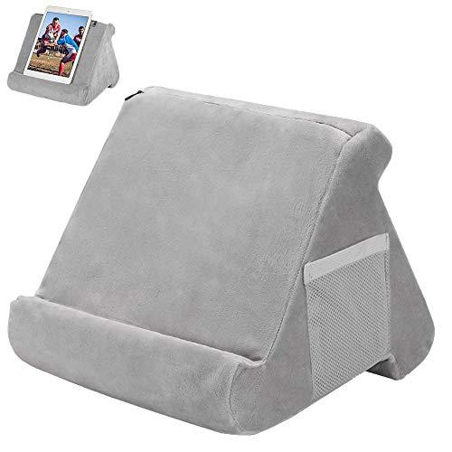 COOTA - Supporto per tablet multi angolare, morbido supporto per cuscino, supporto per lettura, supporto per tablet, supporto pigro per letto, divano, scrivania, pavimento (grigio)