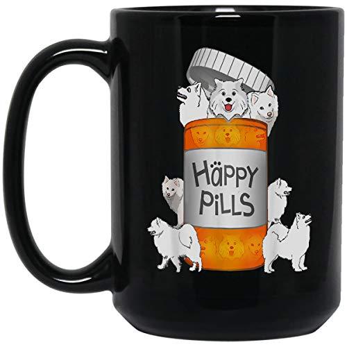 Happy Pills Samoyed dog tshirt Coffee Mug - Double-Sided Print Ceramic Mug Best gift for Your Friend – Black size: 15OZ mug