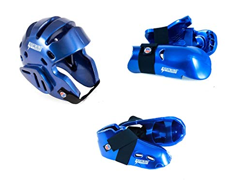 Lightning Blue Karate Sparring Gear Package Deal - Child Large