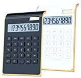 Desktop Calculator, BESTWYA 10-Digit Dual Power Handheld Desktop Calculator with Large LCD Display Big Sensitive Button (New Black & White, Pack of 2)
