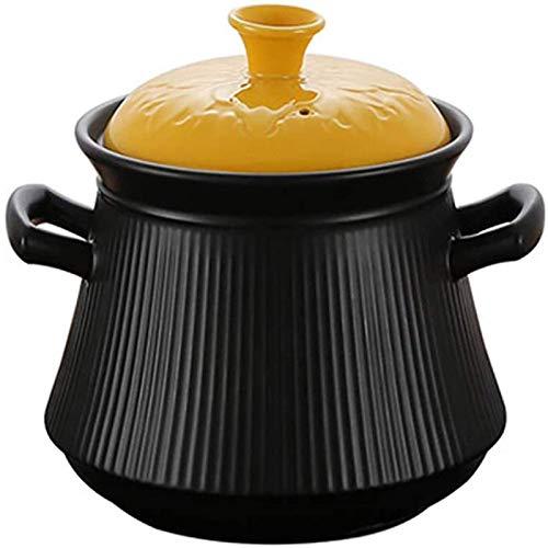 Cazuela Sopa Profunda Olla Caliente Cazuela de cerámica con Tapa Amarilla, Utensilios de Cocina Olla de Barro Olla de Barro Cazuela Plato Crockpot Olla de cocción Lenta Cazuela