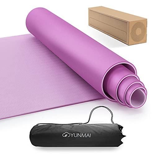 YUNMAI Tappetino Yoga Antiscivolo, Tappetino Imbottito Fitness Pilates Allenamento in TPE a Doppia Faccia Portatile con Borsa da Trasporto 183 x 61 x 0,6cm(Rosa)