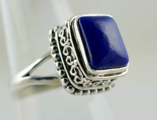 Anillo de lapislázuli, anillo de plata de lapislázuli, plata de ley 925, anillo de piedras preciosas, anillo de plata, anillo de plata de lapis, talla de anillo azul de 4 a 29 ES