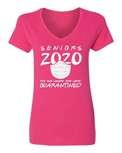 Sheki Apparel Coronavirus 2020 Quarantined Seniors Covid 19 Humor Womens Vneck T-Shirt (Pink, Small)