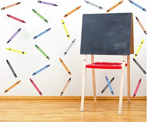 Colorful Crayon Wall Sticker(64pcs),Multicolor School Supplies for Classroom Art Room Decaoration,Coloring Crayons Playroom Nursery Wall Art