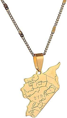ZGYFJCH Co.,ltd Collar de Acero Inoxidable de Moda, Collar con Colgante de Bandera de Mapa de Siria, Collares con Cadena de Mapa de sirios, joyería