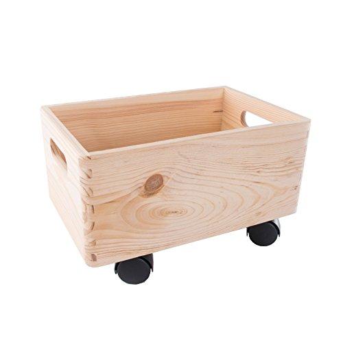 Search Box Pequeño de Madera apilables Caja de Almacenamiento con Asas y Ruedas Caja de almacenaje/organización/-30cm