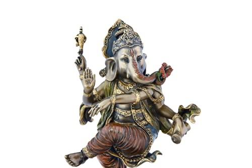 Dancing Ganesha Statue, 20.5 cm Bonded Bronze Dancing Ganesh Statue, Elephant Headed Hindu God of Good Luck,Wealth,Success & New Beginning.