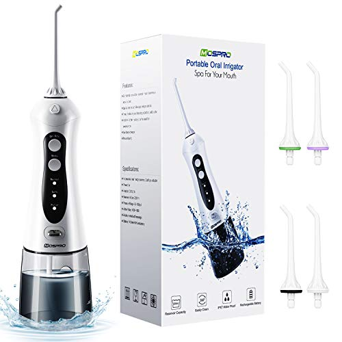 Water Flosser Professional Cordless Dental Oral Irrigator - 300ML Portable and Rechargeable IPX7 Waterproof 3 Modes Water Flosser with Cleanable Water Tank for Home and Travel, Braces & Bridges Care