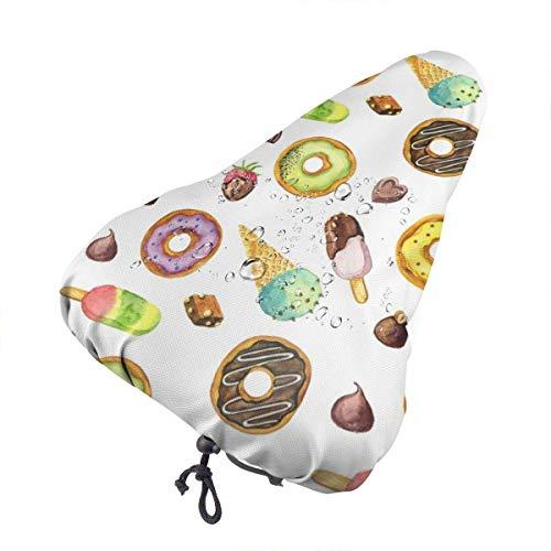 Du-shop Sattelbezug Aquarell EIS & Donuts wasserdichte Fahrradsitz Regenhülle mit Kordelzug Regen und Staubbeständig